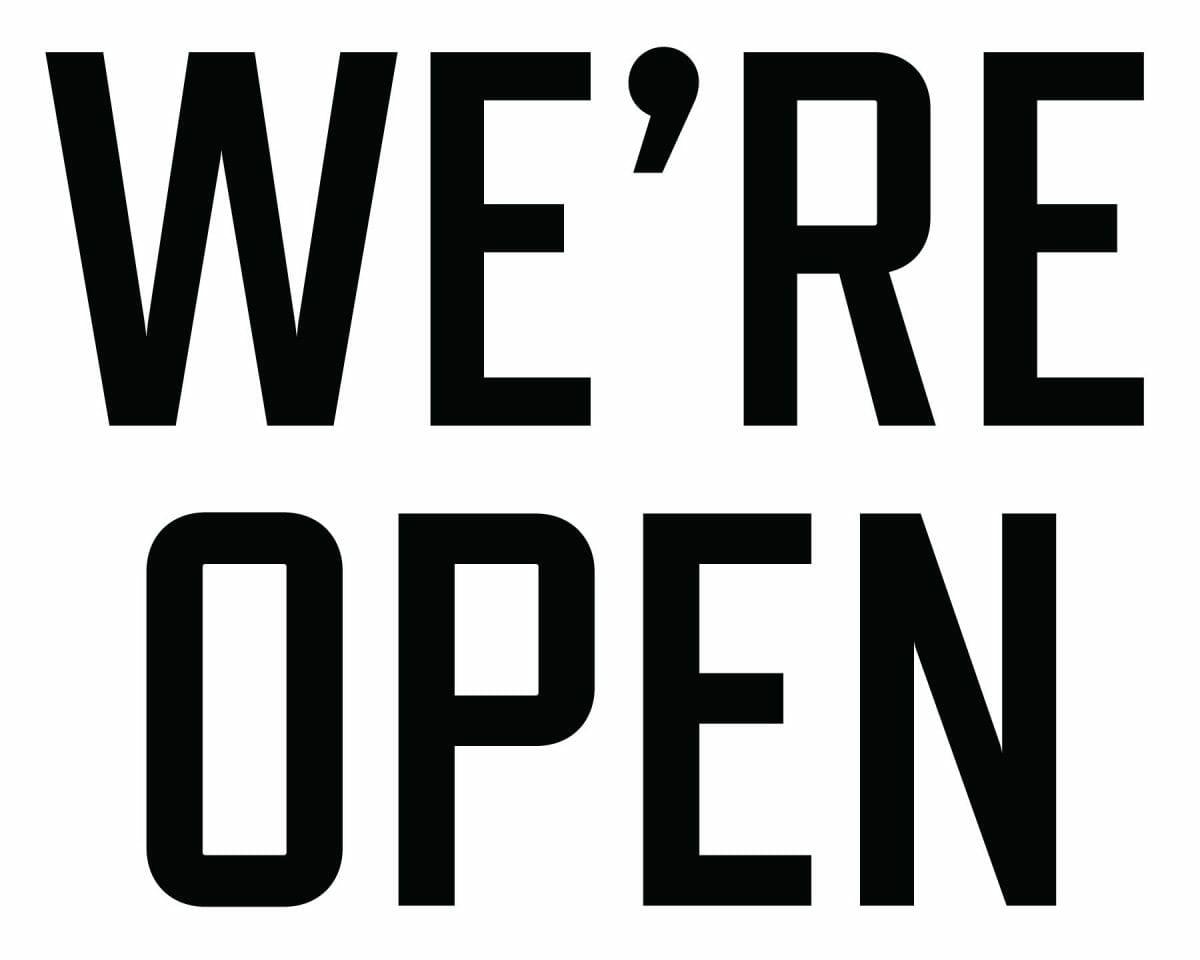 we're open announcement banner