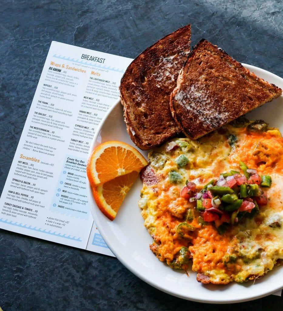 breakfast scramble egg cheese toast hot mess